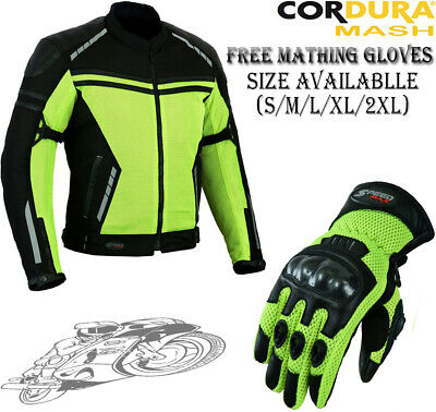 Hiviz Black Mesh Air Vent Summer Armour Motorbike Motorcycle Ce Protector Jacket