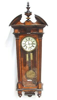 Exquisite Antique Burr Walnut & Ebonised Double Weighted Vienna  Wall Clock