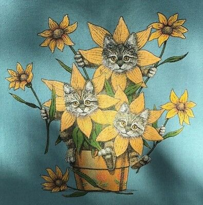 Women's T-Shirt Sunflower Cats Tee Shirt Size 2X