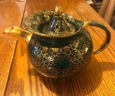 Vintage Dark Green & Gold Teapot Tea Pot w/Lid ~Beautiful