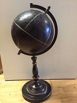 Art Deco World Globe in Dark Brown Self Standing Desk Top Display