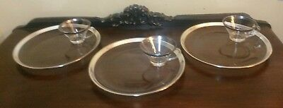 6pcs Dorothy Thorpe Silver Band Glass Snack Plates & Cups