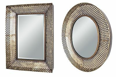 Haku Punched Metal Copper Effect Frame Wall Mirrors in Round or Square