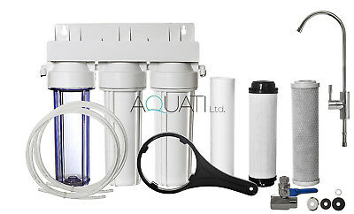 Luxury 3 Stage Home Under Sink Water Purifier & Dechlorinator Filter Kit Aquati