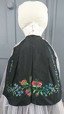 Colourful Mid 19th Century Hand Embroidered Silk Apron - Victorian Antique