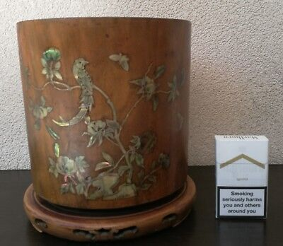 A huge hongmu Phenix brushpot with MOP inlay