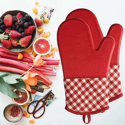 Long Length Silicone Oven Gloves/Mitts Heat Resistant protects against burning