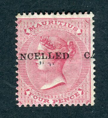 Mauritius 1863-72 QV. 4d rose. MH. Crown CC. CANCELLED opt. MISPLACED. SG 62.