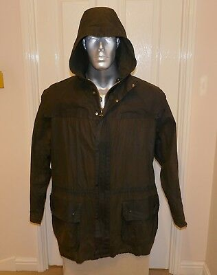 RARE BARBOUR LIGHTWEIGHT UNLINED HOODED DURHAM WAX JACKET, OLIVE, C42 Large