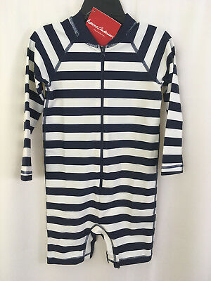 Hanna Andersson Baby Rash Guard Suit Swimmy Navy Stripe Size 90 3 NWT
