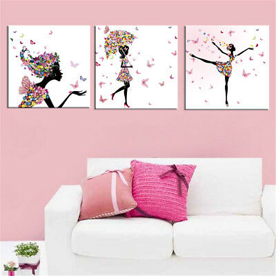 Umbrella Butterfly And Dancing Girl Wall Art Decor Home Room No Frame 3 Pieces