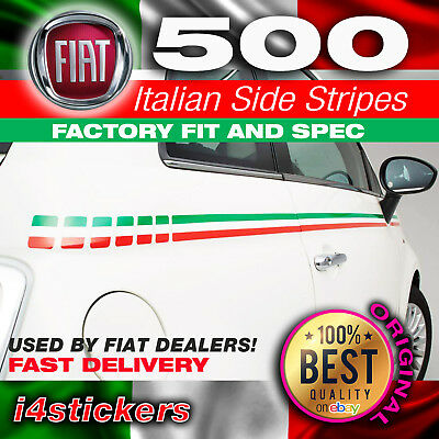Fiat 500 595 Italian flag Side Stripes Graphics Decals Stickers perfect fit