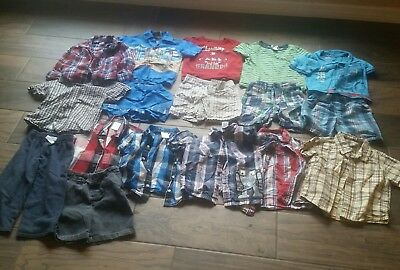 17 PC Toddler Boys Summer Church Clothes Lot 2T 24M Dress Shirt Shorts Outfits