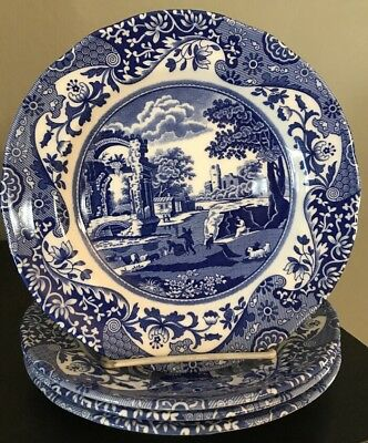 """Spode Blue Italian Salad Plates 7.5"""" Set of 4 NWT $100 Made In England"""