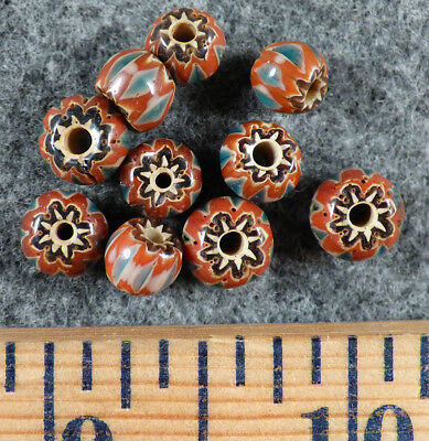 (10) Old Sky Blue Red White Chevron Huron Indian Venetian Trade Beads Fur Trade