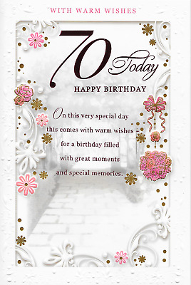 Age 70Th 70 Seventy Birthday Card Femalesentimental Verse 9 X 6