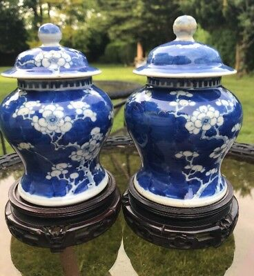 Chinese Kangxi Nian Zhi Prunus Temple Jars Used Some Damages See Description.