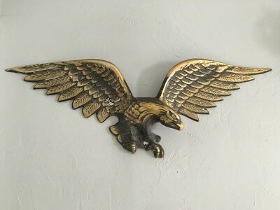 """Vintage American Bald Eagle Wall Hanging Large 37"""" Alloy Metal w/ Brass Finish"""