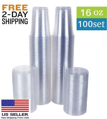 100 count 16 oz clear plastic cups Disposable cold drink party  with flat lids