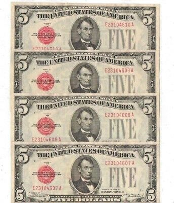 (4) Consecutive 1928 Five Dollar Red Seal Notes Uncirculated