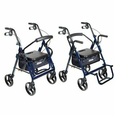 "Drive Medical Duet Rollator Transport Chair Walker - Blue - 8"" Casters"