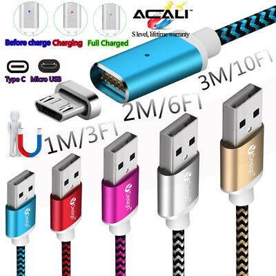 1/2/3M Magnetic Charger Type C Micro USB Cable For Samsung Galaxy S7 S8 S9 Plus