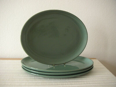 Denby   **   Manor  Green   **   4   Large  Oval  Dinner  Plates