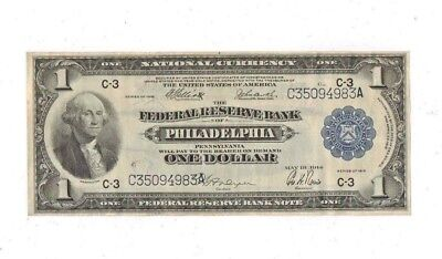 1914 One Dollar Philadelphia Large Note Uncirculated High Grade