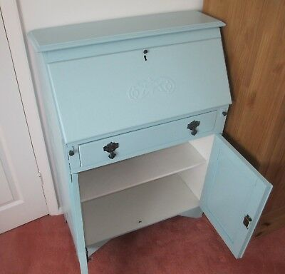 duck egg blue shabby. Unique Blue Vintage Oak Writing Bureau Painted Duck Egg Blue Shabby Chic With Blue A