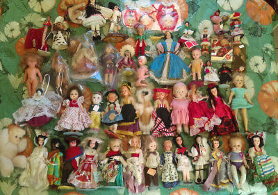 Large Mixed Lot Vintage Collection Small Dolls Form Around The World