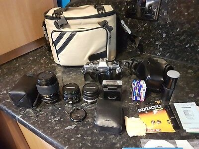Olympus OM10 35mm SLR Film Camera with three lenses + accessories