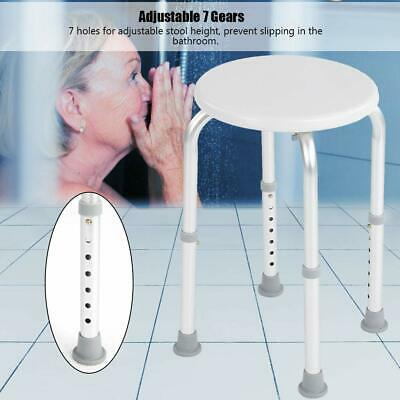 Adjustable 7 Height Round Bath and Shower Stool Seat Chair Bathing Aid Aluminium