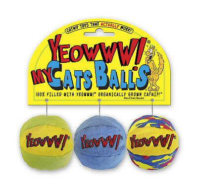 "YEOWWW! MY CATS BALLS! 3 x 2"" 100% ORGANIC LARGE CATNIP KITTY BALLS~FREE1st POST"