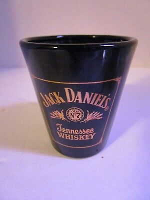 Vintage Jack Daniels Tennessee Whiskey Black Shot Glass with Gold Lettering