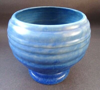 Rare Art Deco Carlton Ware Ribbed Footed Vase Mottled Cobalt Blue Glaze 20s 30s
