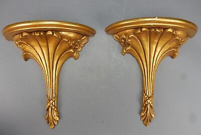 Set of (2) of Antique Intricate Gilt wood and Gesso Shelves  11 inches