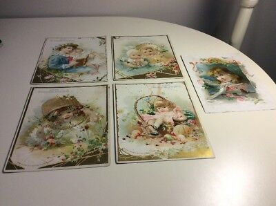 Lot Of 5 Antique Vintage Coffee Trade Cards From McLaughlins And Woolson Spice C