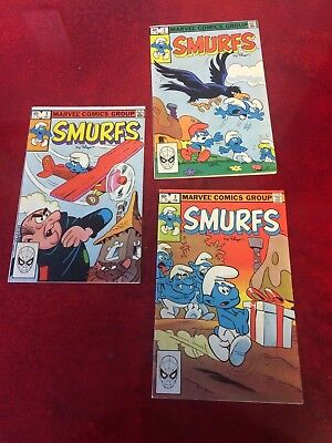 3 Vintage 1982 Marvel Comics Group Smurfs