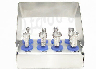 8 Pcs Dental Trephine Drills Kit for Implant Surgical Surgery With Bur Holder