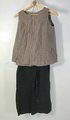 LV- Vintage 60s Retro MATERNITY Cotton Top & Pencil Skirt sz S