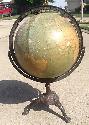 "Antique 12"" Weber Costello World Globe with Cast Iron Base Claw Feet *School*"