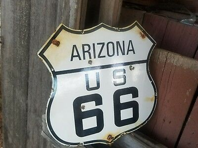 """Arizona Route 66"" vintage steel porcelain highway road sign"