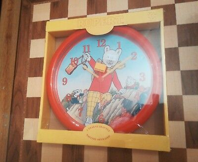 Vintage 1991 Rupert Bear Wall Clock Boxed & Sealed Official Licensed Product