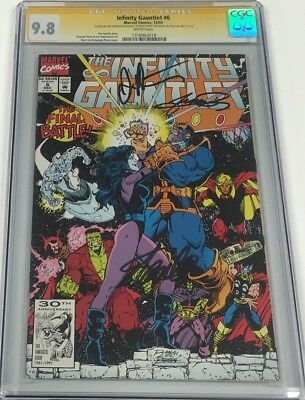 Infinity Gauntlet #6 Signed by Stan Lee / George Perez / Jim Starlin CGC 9.8 SS