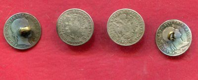 4 - 1840's Buttons made from Austrian Silver 5 Kreuzer Coins
