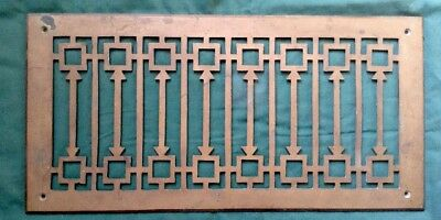 """Antique Solid Brass Grate Vent Cover 17 1/2"""" X 8 5/8"""" BEAUTIFUL Art Deco"""