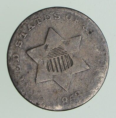 RARE Silver Trime - 1853 Three Cent - 3 Cent Early US Coin - Look it up! *965
