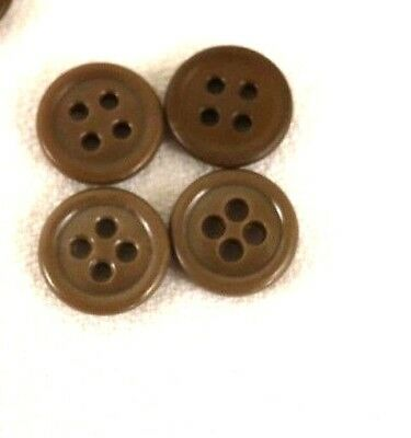 WWII US small light brown buttons plastic 5/8in 16mm lot of 4 B236