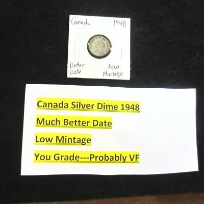 CANADA Silver Dime From 1948 * Better Date * Low Mintage