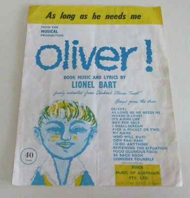 'As Long as He Needs Me' - Sheet Music - 'Oliver!' Musical - Lionel Bart - 1960
